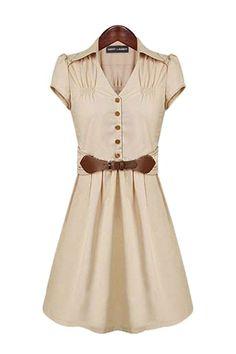 A-line V-neck Bowknot Short Sleeve Dress