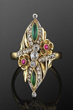 Art Nouveau Jeweled Flower Ring, circa 1895. | Copyright © 2014 Fred Leighton.