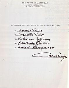 #yearofcolor john wayne's list Golden Age Of Hollywood, Hollywood Stars, Classic Hollywood, Hollywood Icons, The Philadelphia Story, Men Of Letters, American Legend, Actor John, Academy Award Winners