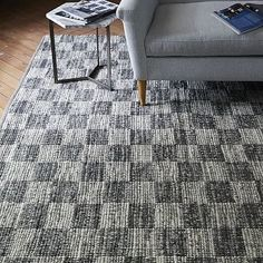 Checkerboard Flatweave Wool Rug - Natural Gray #westelm
