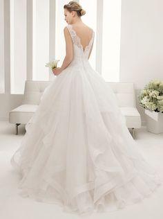 Ball Gown Sleeveless Floor Length Ruffled Tulle Princess Open Back Wedding Dress
