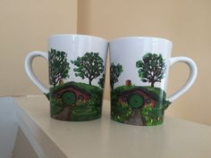 A personal favorite from my Etsy shop https://www.etsy.com/listing/275891174/hobbit-house-mugs-left-hand-and-right