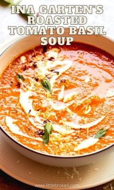 The best-rated roasted tomato basil soup. This recipe relies on fresh tomatoes and herbs rather than cream or milk. It's rich and full of flavor. Roasted Tomato Basil Soup, Roasted Tomatoes, Healthy Cooking, Cooking Recipes, Veggie Soup Recipes, Soup And Sandwich, Pinterest Recipes, Yummy Appetizers, Soups And Stews