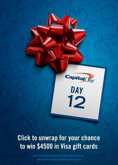 Click to unwrap this Gift of Winter Escape for your chance to win a Visa gift card | No purchase necessary | See official rules: https://www.capitalone12days.instantignition.com/OfficialRules/