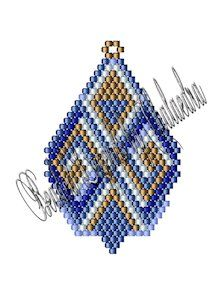 """Diagonals Pattern.   Materials listed for the Diagonals design are for each motif beaded. The Diagonals design measures approximately 1.34"""" x 2.12"""" as shown if made with Delica 11 beads, but it is suitable for beading in any size seed or Delica bead and can be made in either brick stitch or Peyote. Design would make good earrings, charms, decorations, suncatchers or other ornaments. Adding dangles is optional."""