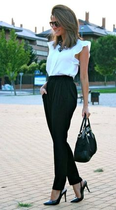 #chic #work outfit white sleeveless + black pants combination