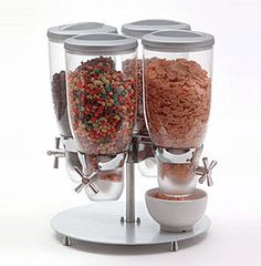 Cereal dispenser! U could also paste the nutrition facts onto the dispensers