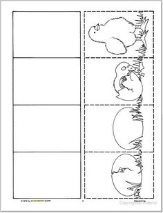 Crafts,Actvities and Worksheets for Preschool,Toddler and Kindergarten.Free printables and activity pages for free.Lots of worksheets and coloring pages. Easter Worksheets, Preschool Worksheets, Preschool Activities, Bird Life Cycle, Life Cycle Craft, Kindergarten Science, Preschool Lessons, Chicken Coloring Pages, Spring Activities