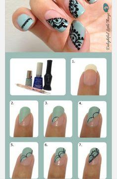 16 Cute Nail Tutorials You Won't Miss – Pretty Designs Lace Nail Art Tutorial – 16 Creative DIY Nail Ideas Lace Nail Design, Lace Nail Art, Nail Art Diy, Cool Nail Art, Nails Design, Lace Art, Easy Nails, Simple Nails, Cute Nails