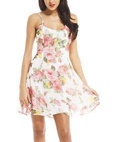 Look at this #zulilyfind! Ivory & Pink Floral Dress #zulilyfinds