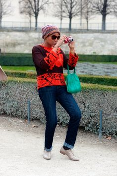 Street Style - Paris. How good is that sweater?!