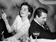 """Friendship goals: Rosalind Russell and Cary Grant. Grant was best man at Russell's wedding and gave a eulogy at her funeral: ""I know of no one better qualified to enter paradise. Roz never missed a trick. Old Hollywood Stars, Golden Age Of Hollywood, Vintage Hollywood, Classic Hollywood, Hollywood Party, Classic Movie Stars, Classic Movies, Rosalind Russell, Becoming An American Citizen"