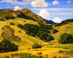 """William Wendt was an American landscape painter. He was called the """"Dean of Southern California landscape painters. Impressionist Paintings, Impressionism, Landscape Art, Landscape Paintings, California Art, Mountain Art, Oil Painting Reproductions, Oil Painting On Canvas, Painting Trees"""