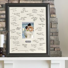 Personalized Wedding Guest Signature Frame - Guests add their signatures and sentiments to the photo mat and the couple inserts their favorite wedding photo for a memorable tribute to that special day.