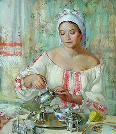 Tea time Art by Polina Luchanova Tee Kunst, Animated Gifs, Posters Vintage, Ukrainian Art, Tea Art, Russian Art, Coffee Art, Beautiful Paintings, Female Art