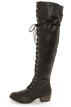2fcaa23e4c12 Alabama 12 Black Lace-Up Over the Knee Boots