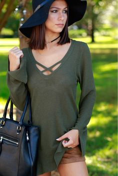 Kiss Cross Tunic Sweater Olive