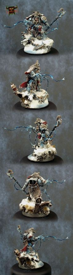 Warhammer 40k, Space Marines. The most amazing Psyker model I've seen, and it turns out to be a custom Njal Stormcaller of the Space Wolves, Terminator Librarian