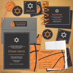 Orange Black Basketball Bar Mitzvah Invitation Suite