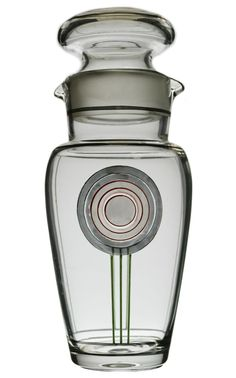Cocktail Shaker Art Deco Painted & Silvered Glass
