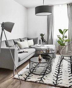 Furniture - Living Room: Shades of Gray! Gray is a neutral Furniture – Living Room : Shades of Grey! Grau ist eine neutrale Farbe, die sich meist in vornehmer Zurüc… – Decor Object Living Room Grey, Living Room Interior, Home Living Room, Living Room Designs, Black White And Grey Living Room, Apartment Interior, Apartment Living, Studio Apartment, Nordic Living Room
