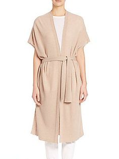 Vince Texture-Stitch Belted Duster Cardigan