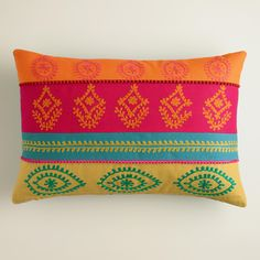 "Multicolor Stripe Embroidered Lumbar Pillow | World Market 14""x20"" - $29.99 - ideas for your living room pillows"