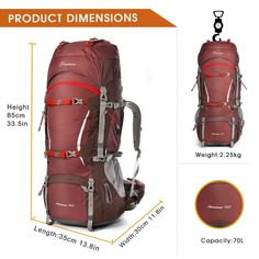 Mountaintop Outdoor Waterproof Hiking mountaineering Internal Frame Backpack 5805 Maroon $74.99 & FREE Shipping. FREE Returns.