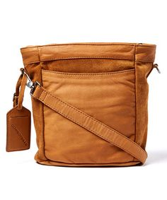 A sweet mix of rich leather and soft suede brings textural intrigue to this compact crossbody. Suede Leather, Leather Bags, Soft Suede, Purses And Handbags, Leather Crossbody Bag, Clutches, Totes, Glamour, Inspiration