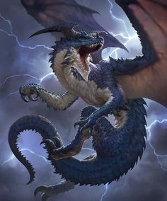 A Blue Dragon, known for their speed and ferocity in battle. They find delight in the unexpected, often travelling great distances or forging secret alliances almost solely for the satisfaction of catching their enemies off-guard. Dark Fantasy Art, Fantasy Artwork, Dnd Dragons, Cool Dragons, Dragon Illustration, Fantasy Illustration, Fantasy Monster, Monster Art, Mythical Creatures Art