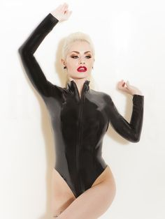Latex Killer Zipper Body Black in Bodies & Playsuits by Honour Clothing.