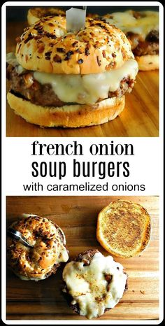 burger recipes Youre going to go crazy over French Onion Soup Burgers topped with caramelized onions and Provolone or Gruyere cheese. Stovetop or Grill. Plus a shortcut method to get real caramelized onions! Cheese Burger Soup Recipes, Meat Recipes, Cooking Recipes, French Onion Soup Burger Recipe, French Onion Soup Grilled Cheese, Recipies, Onion Soup Hamburger Recipe, Stuffed Hamburger Recipes, Queso Soup Recipe