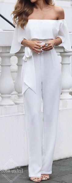 #outfit #ideas / 75+ Outfit Ideas to Wear to Homecoming white off the shoulder jumpsuit