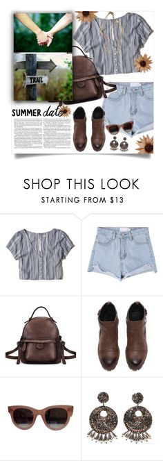 """""""Happy Trails"""" by mmk2k ❤ liked on Polyvore featuring Hollister Co., CÉLINE, Kenneth Jay Lane, Lizzy James, Summer, DateNight and summerdatenight"""