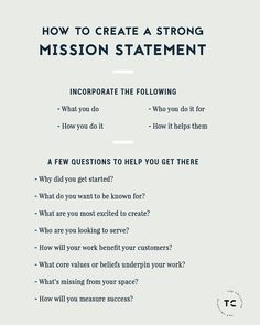 How To Create A Strong Mission Statement Personal Branding, Marca Personal, Branding Your Business, Business Tips, Online Business, Small Business Plan, Small Business Marketing, Starting A Business, Writing A Mission Statement