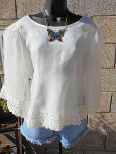 Vintage boho, raffaella sheer blouse, JuniperLaneAZ on Etsy, $18.00