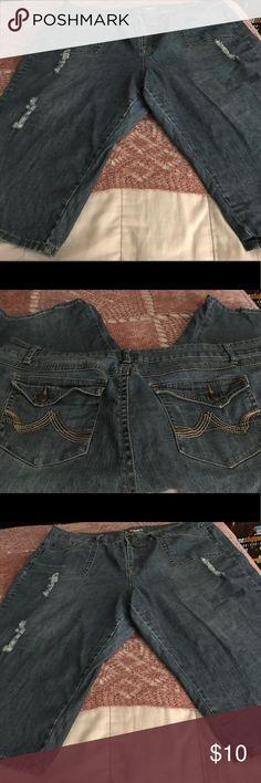 Woman's Distressed Denim Capris Woman's Distressed Denim Capris, Size 24W. Good condition. Cato Pants Capris