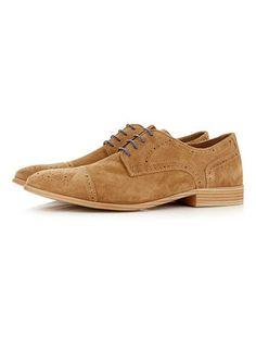 Tan Suede Brogue Shoes