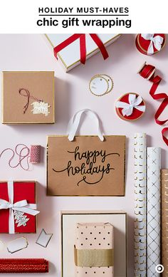 Make any holiday gift feel extra special with Sugar Paper's latest collection. The elegant red color palette and gold detailing is perfect for wrapping stylish, festive gifts with minimal effort. Put hard-to-wrap presents in gift bags with tissue paper, or personalize a present with gift tags and gold letters.