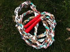 Braid up plastic bags to make a jump rope with duct tape handles.