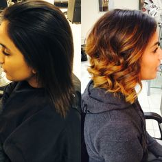 Before and After Ombré Mid length bob