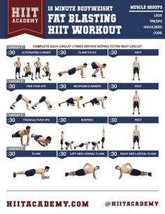 18 Minute Bodyweight Fat Blasting & Muscle Shredding HIIT Workout For Men And Women Do you track your workouts? Visit for activity trackers and fitness wearables. Fitness Studio Training, Cardio Training, Strength Training, Kettlebell Training, Sport Fitness, Body Fitness, Fitness Tips, Fitness Exercises, Physical Fitness