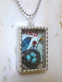 Soldered Shadowbox Pendant Necklace with 3D Birdnest and by MagRag
