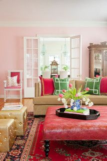 Andrea Brooks Design | Gold Ottomans | Light Pink Walls (Bella Pink SW 6596, by Sherwin-Williams) | Pom Pom Pillows | Green Pillows | French Doors