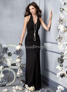 black chiffon halter neck a-line floor length bridesmaid dress