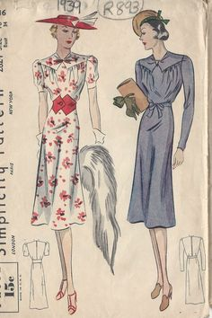 1939 Vintage Sewing Pattern B34 DRESS (R893) in Crafts, Sewing & Fabric, Sewing | eBay