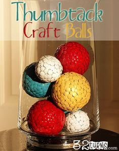 DIY Thumbtack Craft Balls. Seriously so easy and cheap! I'm am definitely going to make these for my front room!