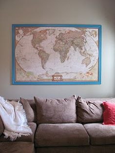 How to Frame A Large World Map | Angie in the Thick of It