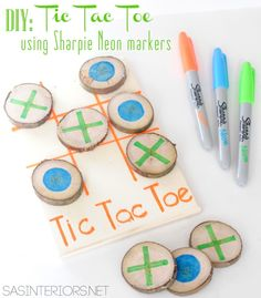 DIY: Tic Tac Toe game using Sharpie Neon markers; Project by @Jenna_Burger, www.sasinteriors.net