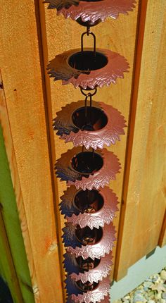 Metal Garden Art Leaf Lip Cup Rain Chain - This exquisite piece adorns your home while serving as a useful replacement for a downspout. Add whimsy to your home, garden, patio, porch, or outdoor living space! Backyard Farming, Backyard Landscaping, Metal Garden Art, Metal Art, Maker, Diy Pallet Projects, Garden Ornaments, Amazing Gardens, Organic Gardening